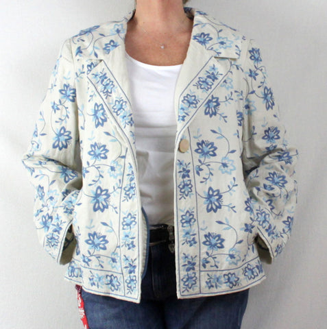 Adorable J Jill L size Off White Blue Embroidered Floral Linen Jacket 3 Season - Jamies Closet - 1