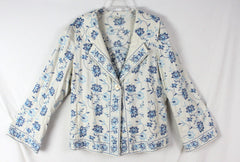 Adorable J Jill L size Off White Blue Embroidered Floral Linen Jacket 3 Season - Jamies Closet - 4