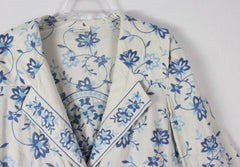 Adorable J Jill L size Off White Blue Embroidered Floral Linen Jacket 3 Season - Jamies Closet - 5