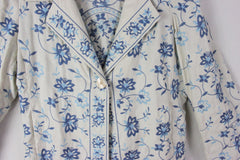 Adorable J Jill L size Off White Blue Embroidered Floral Linen Jacket 3 Season - Jamies Closet - 6
