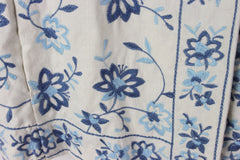 Adorable J Jill L size Off White Blue Embroidered Floral Linen Jacket 3 Season - Jamies Closet - 7