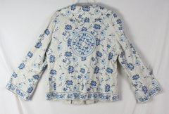 Adorable J Jill L size Off White Blue Embroidered Floral Linen Jacket 3 Season - Jamies Closet - 8