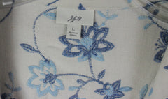 Adorable J Jill L size Off White Blue Embroidered Floral Linen Jacket 3 Season - Jamies Closet - 9