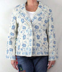 Adorable J Jill L size Off White Blue Embroidered Floral Linen Jacket 3 Season - Jamies Closet - 3