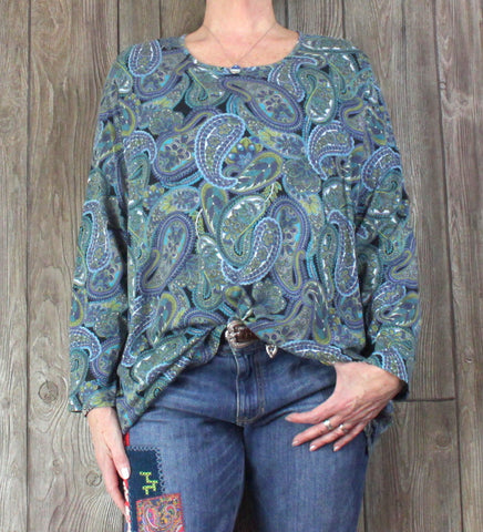 Pretty J Jill Blouse 3x size Blue Green Floral Paisley Womens Stretch Top