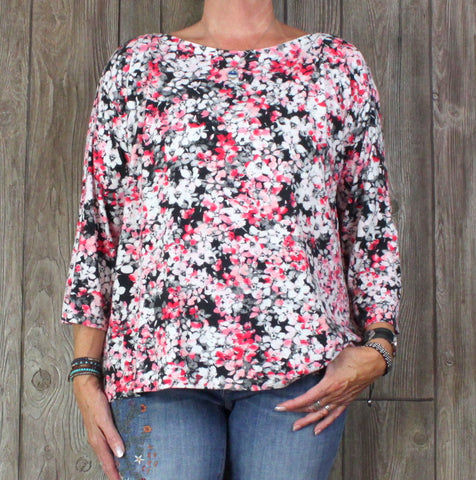 J Jill Wearever Boat Neck Blouse Pink White Black Floral Top Womens XL