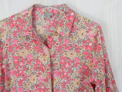 J Jill Pink Floral Linen Blouse M Petite MP size Womens Loose Fit Easy Wear Top - Jamies Closet - 4
