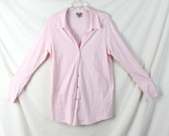 J Jill Blouse M size Light Pink Cotton Long Sleeve Womens Top Comfort Shirt - Jamies Closet - 3