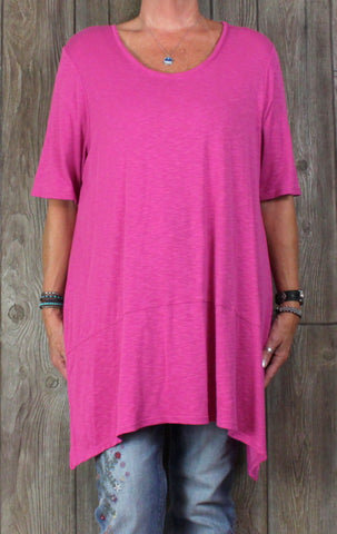 J Jill Tunic Top 2x size Bright Pink Blouse Womens Long Stretch Plus Pima Shirt