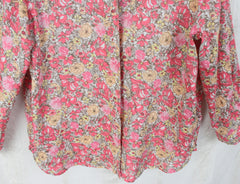 J Jill Pink Floral Linen Blouse M Petite MP size Womens Loose Fit Easy Wear Top - Jamies Closet - 5