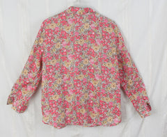J Jill Pink Floral Linen Blouse M Petite MP size Womens Loose Fit Easy Wear Top - Jamies Closet - 7