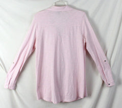J Jill Blouse M size Light Pink Cotton Long Sleeve Womens Top Comfort Shirt - Jamies Closet - 7