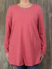 Comfortable Pure J Jill Blouse L XL size Pink Red Shirttail Tunic