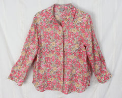 J Jill Pink Floral Linen Blouse M Petite MP size Womens Loose Fit Easy Wear Top - Jamies Closet - 3