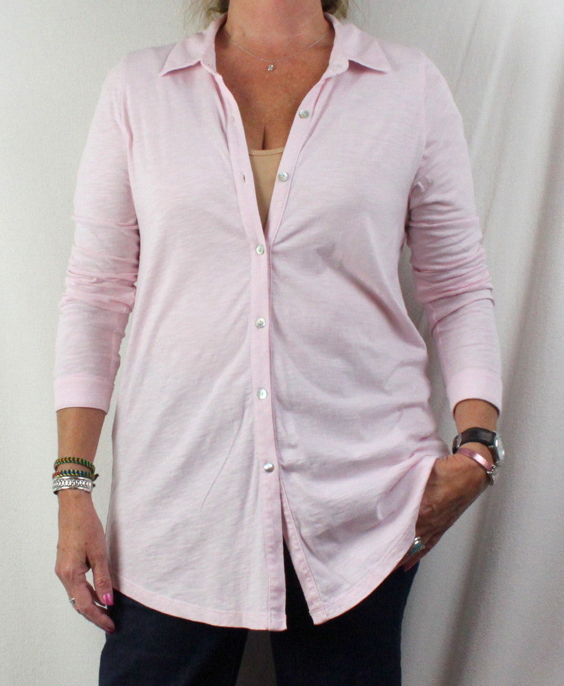 J Jill Blouse M size Light Pink Cotton Long Sleeve Womens Top Comfort Shirt - Jamies Closet - 1