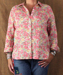 J Jill Pink Floral Linen Blouse M Petite MP size Womens Loose Fit Easy Wear Top - Jamies Closet - 1