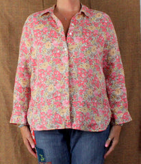 J Jill Pink Floral Linen Blouse M Petite MP size Womens Loose Fit Easy Wear Top - Jamies Closet - 2