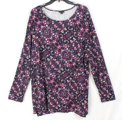 Nice J Jill Wearever Tunic Top 2x size Purple Black Floral