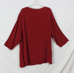 New J Jill Blouse 4x size Dark Red Womens Career Casual Tunic Top