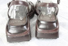 Nice Reaction for J Jill Beach Comber Sandals Size 8 Brown Leather Ankle Strap Womens - Jamies Closet - 3