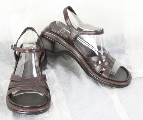 Nice Reaction for J Jill Beach Comber Sandals Size 8 Brown Leather Ankle Strap Womens - Jamies Closet - 1