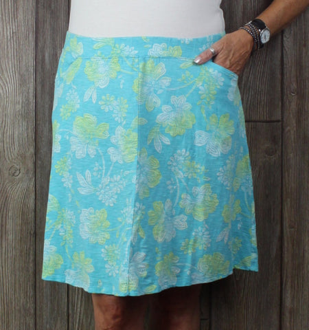 Cute J Jill Skirt L Petite LP size Blue Floral Womens Stretch Aline Pockets Organic Cotton