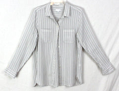 J Jill Blouse M size White Gray Pinstripe Textured Top Womens Casual