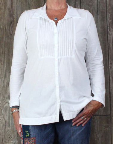 J Jill L Petite LP size White Blouse Soft Stretch Jersey Top