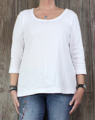 J Jill L XL size Blouse White 3.4 Sleeve Seamed Tee Shirt Womens
