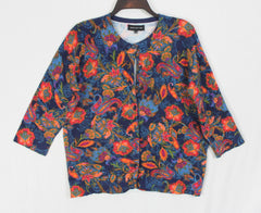 Jones New York Sport XL size Cardigan Sweater Blue Multi Color Floral Womens