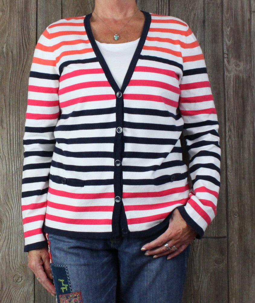 Jones New York Signature Cardigan Sweater XL size Blue Red White Orange Stripe Womens