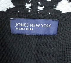 Nice Jones New York Signature S size Cardigan Sweater Black White Career Casual