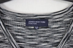 Jones NY Signature XL Stretch Vneck Henley Top Black Gray Fitted