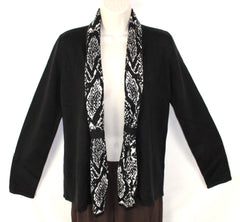 Nice Jones New York Signature S size Cardigan Sweater Black White Career Casual - Jamies Closet - 1