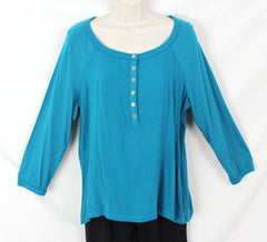 Jones New York Blouse New M size Teal Blue Nice for Work or Casual Wear - Jamies Closet - 1