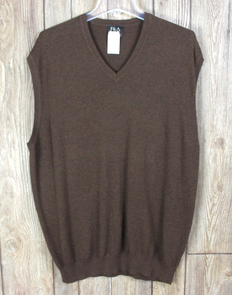 New Jos Bank Sweater Vest XL size Brown Vneck Mens Career Casual Cotton $89