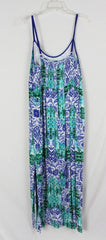 Cute Just Jeans New Maxi Dress 14 L size Blue Green Elastic Upper Back Spaghetti Strap Vacation - Jamies Closet - 4