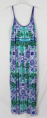 Cute Just Jeans New Maxi Dress 14 L size Blue Green Elastic Upper Back Spaghetti Strap Vacation - Jamies Closet - 2