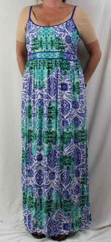Cute Just Jeans New Maxi Dress 14 L size Blue Green Elastic Upper Back Spaghetti Strap Vacation - Jamies Closet - 1