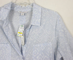 Nice KC Khakis & Co M size New Blue Gray White Blouse Thin Lightweight Shirt - Jamies Closet - 5