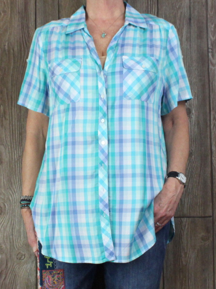 New Khakis & Co Blouse XL size Blue Turquoise Pool Plaid