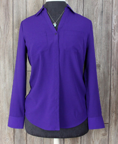 New Talbots Blouse XS size Deep Purple Lightweight Career Casual Womens Top 79$