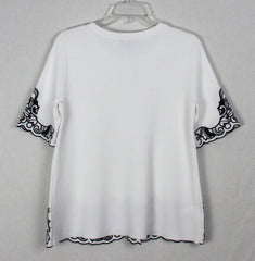 Nice New Ann Taylor M size White Black Embroidered Aline Top Career Casual Womens