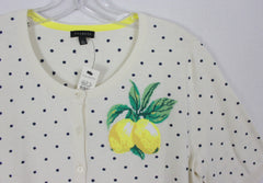 Cute New Talbots Cardigan Sweater S size Ivory Blue Dot Embroidered Lemons