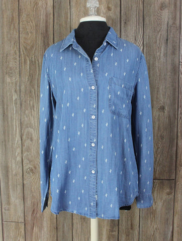 Adorable New Laju Stitch Fix Blouse M size Denim Blue Tencel Tiny Cactus