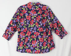 Nice Lands End 18 size Blouse Blue Floral No Iron Top Womens Career Casual