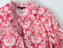Cute Lands End Blouse 10 M size Pink White Tan Floral Womens Tunic Top Cotton Blend