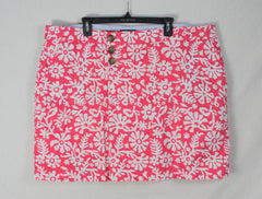 Cute Lands End 20w 2x size Skort Pink White Floral Womens Cotton Skirt Short Plus Fun