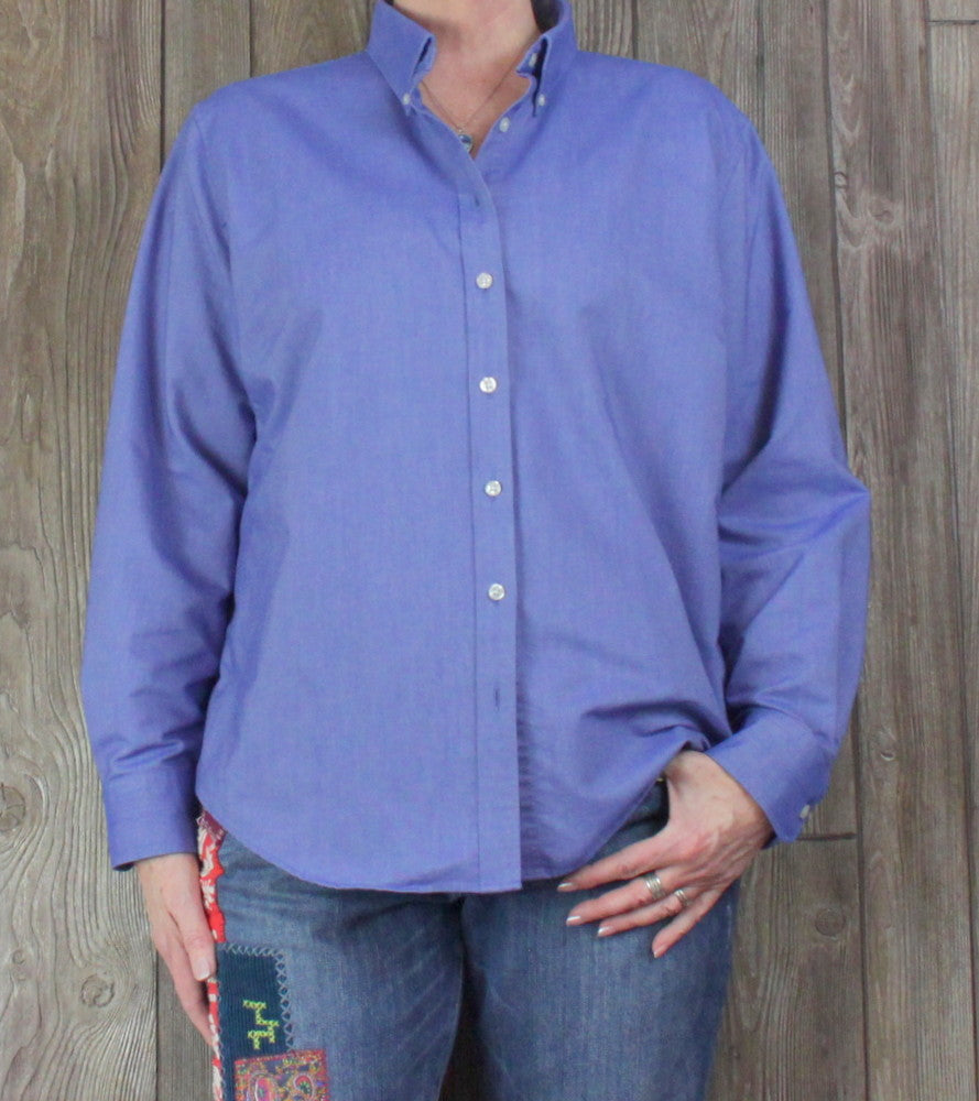 Lands End Button Down Blouse XL 18 20 size Top Blue Cotton Blend Womens Shirt