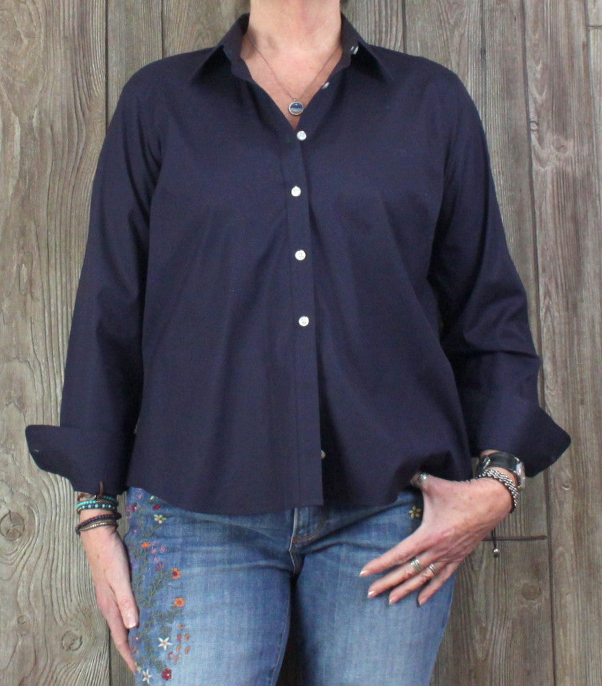 New Lands End Blouse 16 Petite 16P XL size Navy Blue Womens No Iron